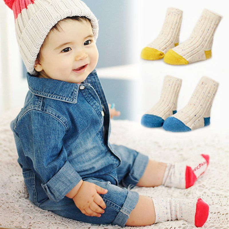 cc2b0159864 NEW HOT New Spring Cute Baby Boys Girls Little Color Yarn Socks Non Slip  Botton Infant Socks H99  Affiliate