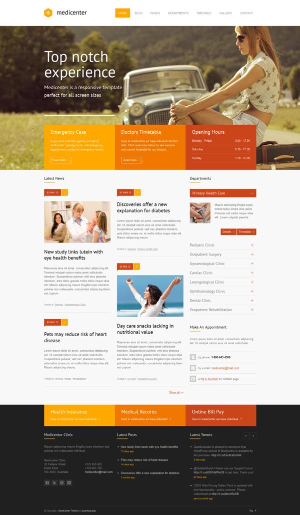elegante tema MediCenter - Responsive Medical WordPress Theme on ...
