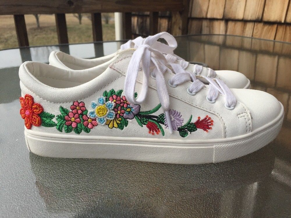 6a95b81eaf6 Steve Madden Marcelo Fashion Sneakers Size 7.5 Flower Embroidered Beaded   SteveMadden  FashionSneakers  Casual