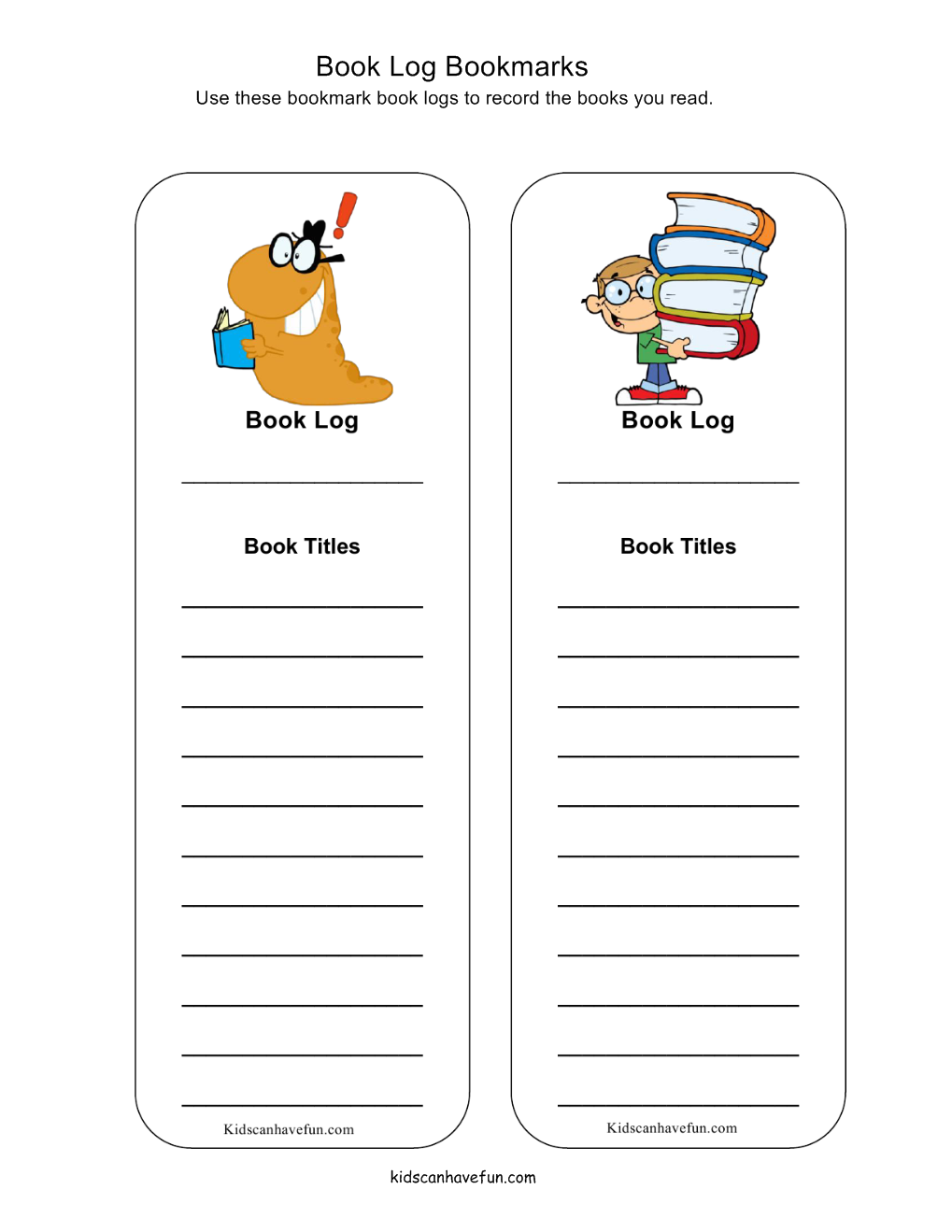 book log bookmarks for kids to write down all the recent books