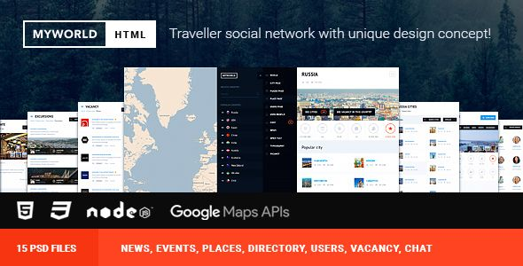 HTML  PSD Directory, geolocation template for traveller  HTML has