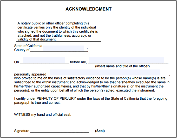 California Notary Acknowledgment Notary Public Notary Notary Public Business