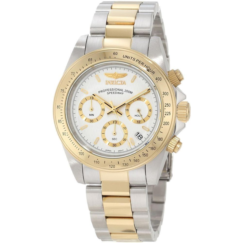 Invicta Watch Invicta 9212 Men S Speedway Watch Features Polished Finish Two Tone Gold Plated Stainless Steel Case With Screw Down Cas
