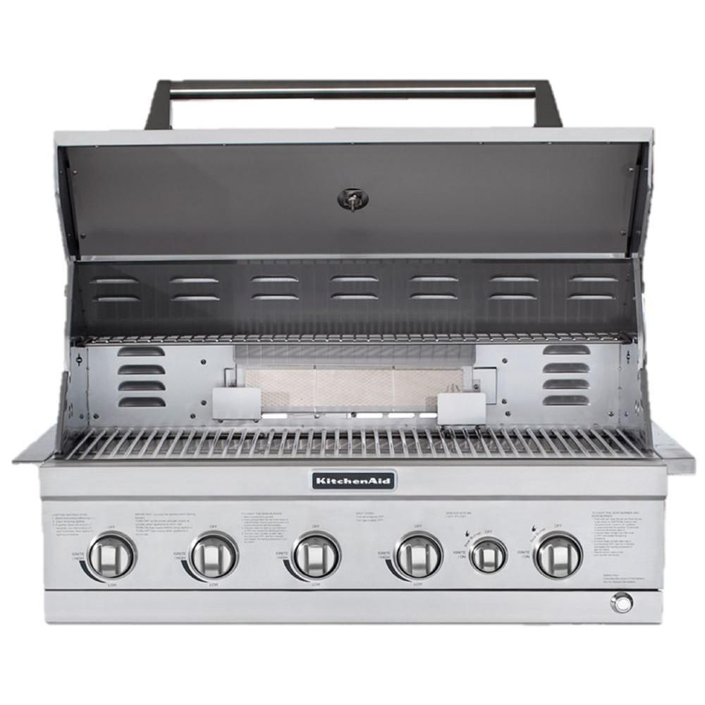 Kitchenaid 4 Burner Built In Propane Gas Island Grill Head In Stainless Steel With Searing Main Burner And Rotisseri Kitchen Aid Built In Grill Outdoor Kitchen