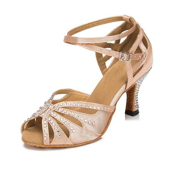 New Ladies Girls Flesh Satin Crystal Rhinestone Salsa Tango Ballroom Dance Shoes  Latin Dance Shoes Mambo Dance Shoes ALL Size