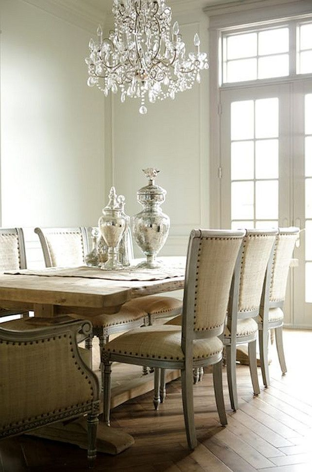 Chic Modern French Dining Room Design With Rustic Wood Trestle Dining Table,  Gray French Oly Studio Sarah Dining Chairs Upholstered In Tan Linen With ...