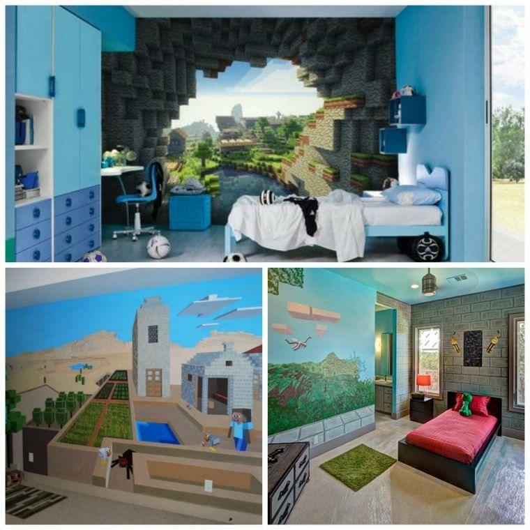 deco-chambre-minecraft-papier-peint-geants | Minecraft bedroom, Minecraft room, Boy room