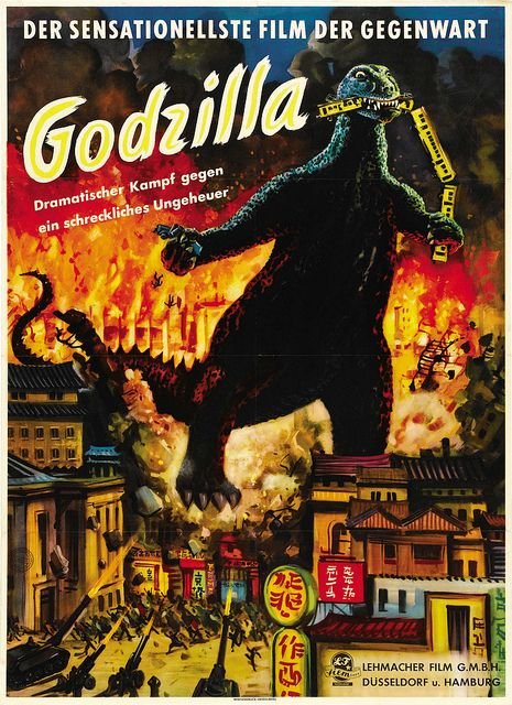 Godzilla Toho 1954 German Horror Movie Posters Godzilla Movie Monsters