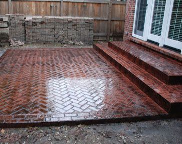 stamped concrete patios mi patio brick herringbone idea - Brick Patio Designs