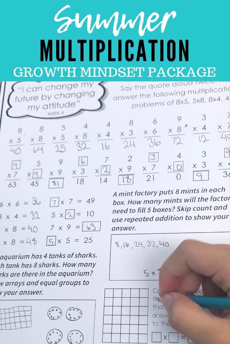 Summer Multiplication Growth Mindset Package Math Growth Mindset Belive You Can Summer Math Activities Fun Education Summer Math [ 1102 x 735 Pixel ]