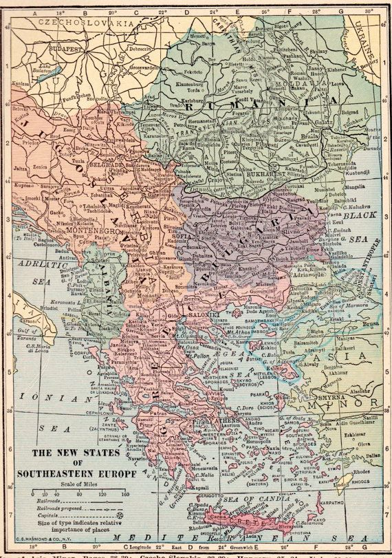 Use coupon code PINTEREST to save 10% off of your purchase! VINTAGE 1923 SOUTHEASTERN EUROPE Map 1923 by UpcycleFarmer on Etsy