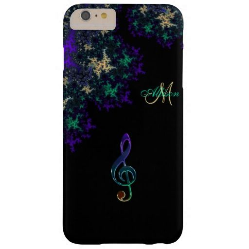 Personalized Dark Elegant Fractal Music Clef iPhone 6 Case.  Rich purple, gold and green on black with a colorful musical treble clef. Fill in your name and initial at the prompt to personalize and customize anyway you like.   #iPhone  #iPhone6  #music