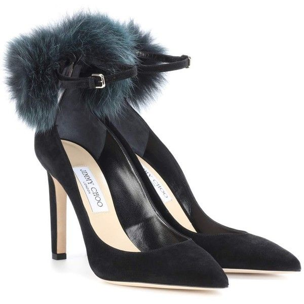 Jimmy Choo South 100 Fur-Trimmed Suede Pumps (8.080 NOK) ❤ liked on Polyvore featuring shoes, pumps, black, suede shoes, black suede shoes, jimmy choo shoes, jimmy choo and kohl shoes