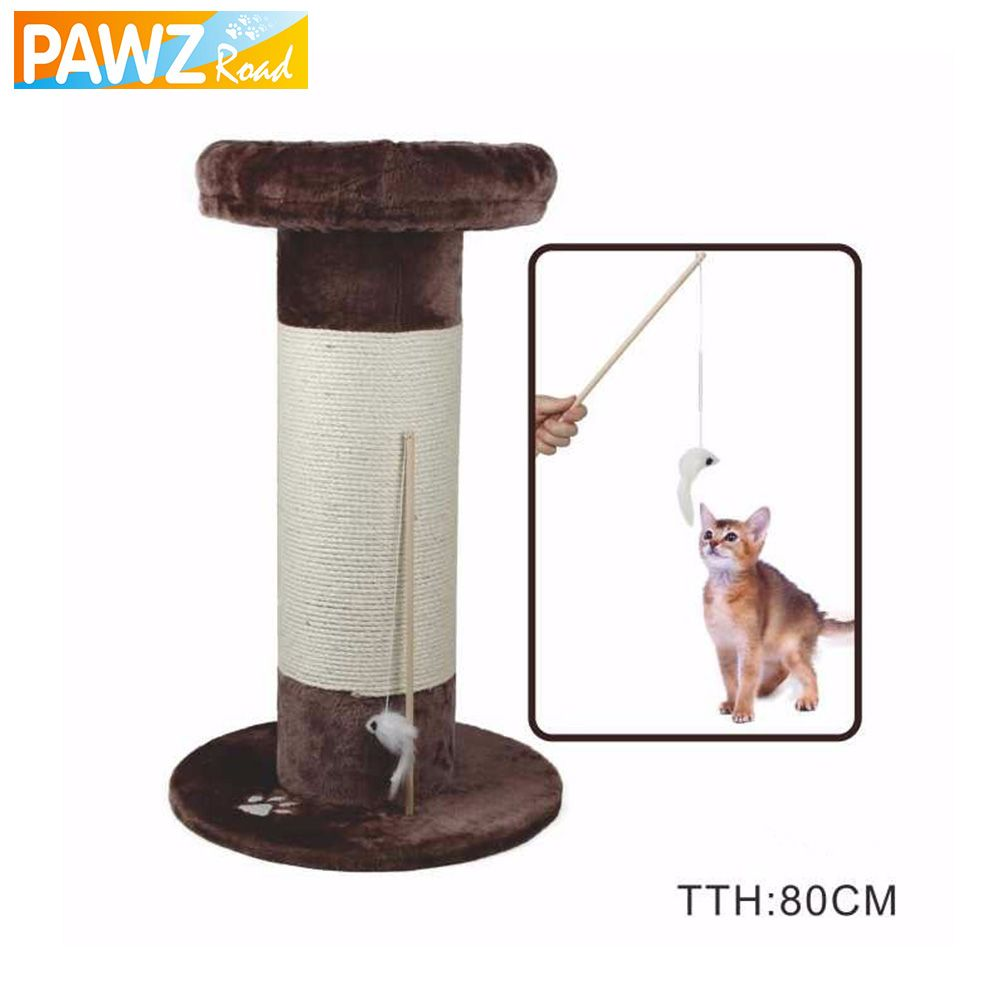 H80CM Cat Toy Funny Cat Stick Scratching Post Wood Climbing Tree ...