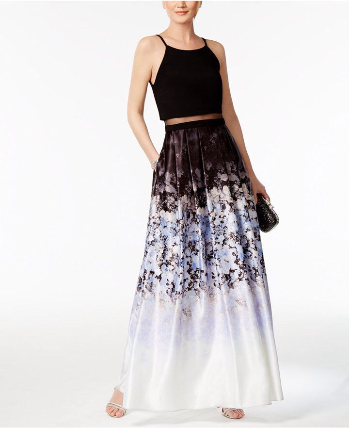 31d6fcb3d73 Betsy   Adam Illusion 2-Pc. Printed Halter Gown
