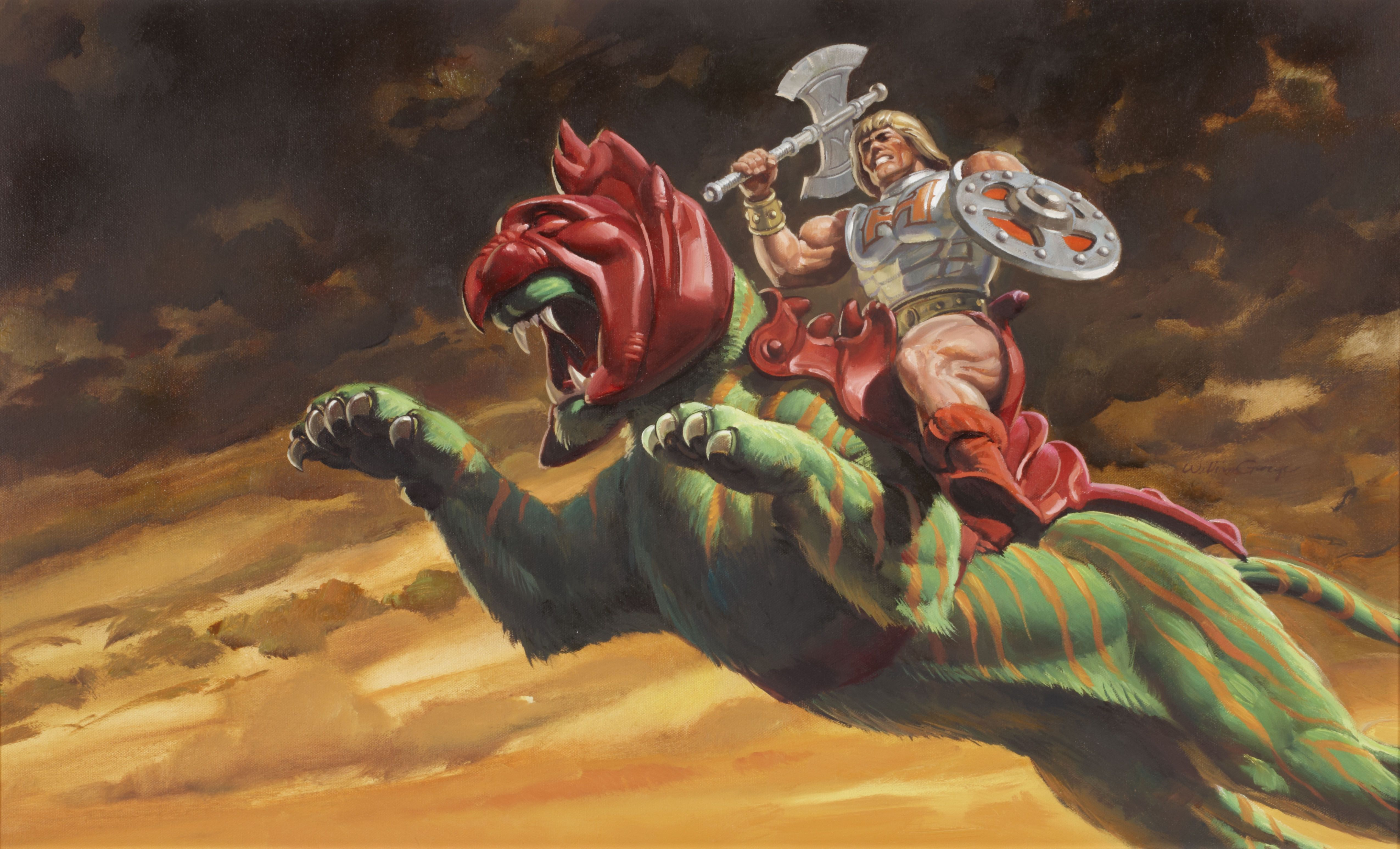 He Man Battle Cat Painting Masters Of The Universe Universe