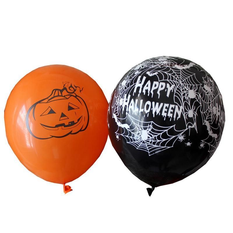 10pcs 12 Inch Latex Balloons Spider Web Pumpkin Horror Halloween - halloween decorations party