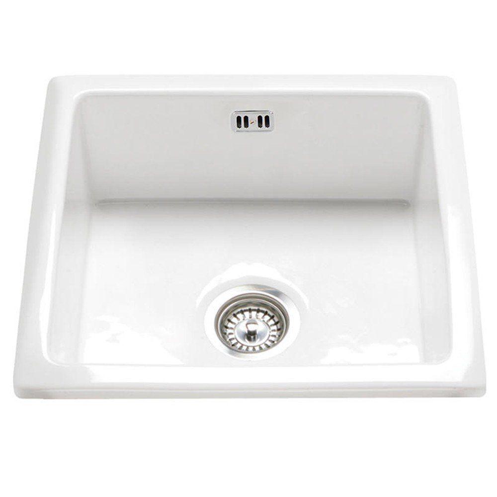 Rak Ceramics Gourmet Sink 6 Inset Undermount 1 0 Bowl White Ceramic Kitchen
