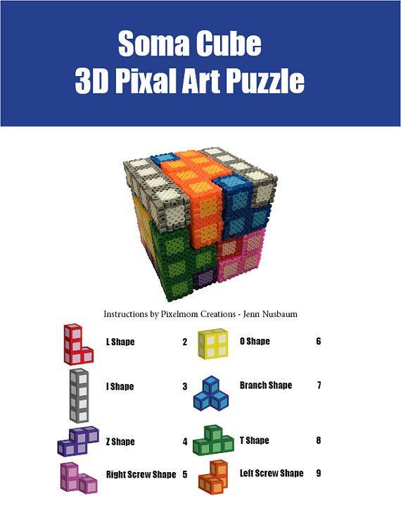 Soma Cube 3d Pixel Art Puzzle Instructions Perler Beads
