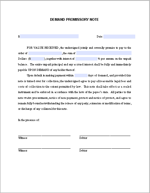 Printable Promissory Note Demand Template  Printable Legal Forms