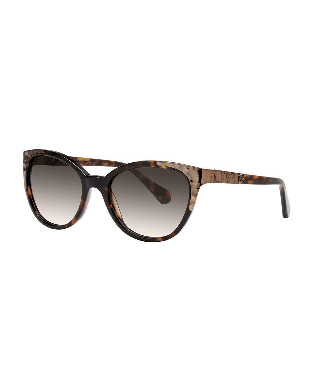 b3c9063ed8ae6 Balmain Rounded Tortoise (Green) Shell Sunglasses