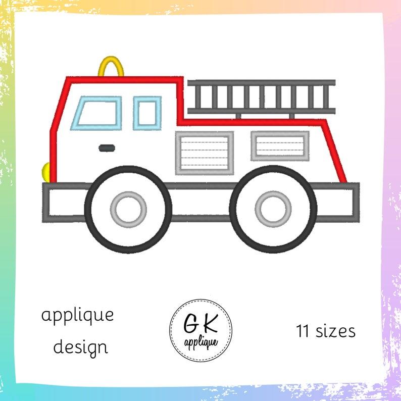 fire dept applique fire engine applique Fire engine applique embroidery design fire engine embroidery file fire car embroidery