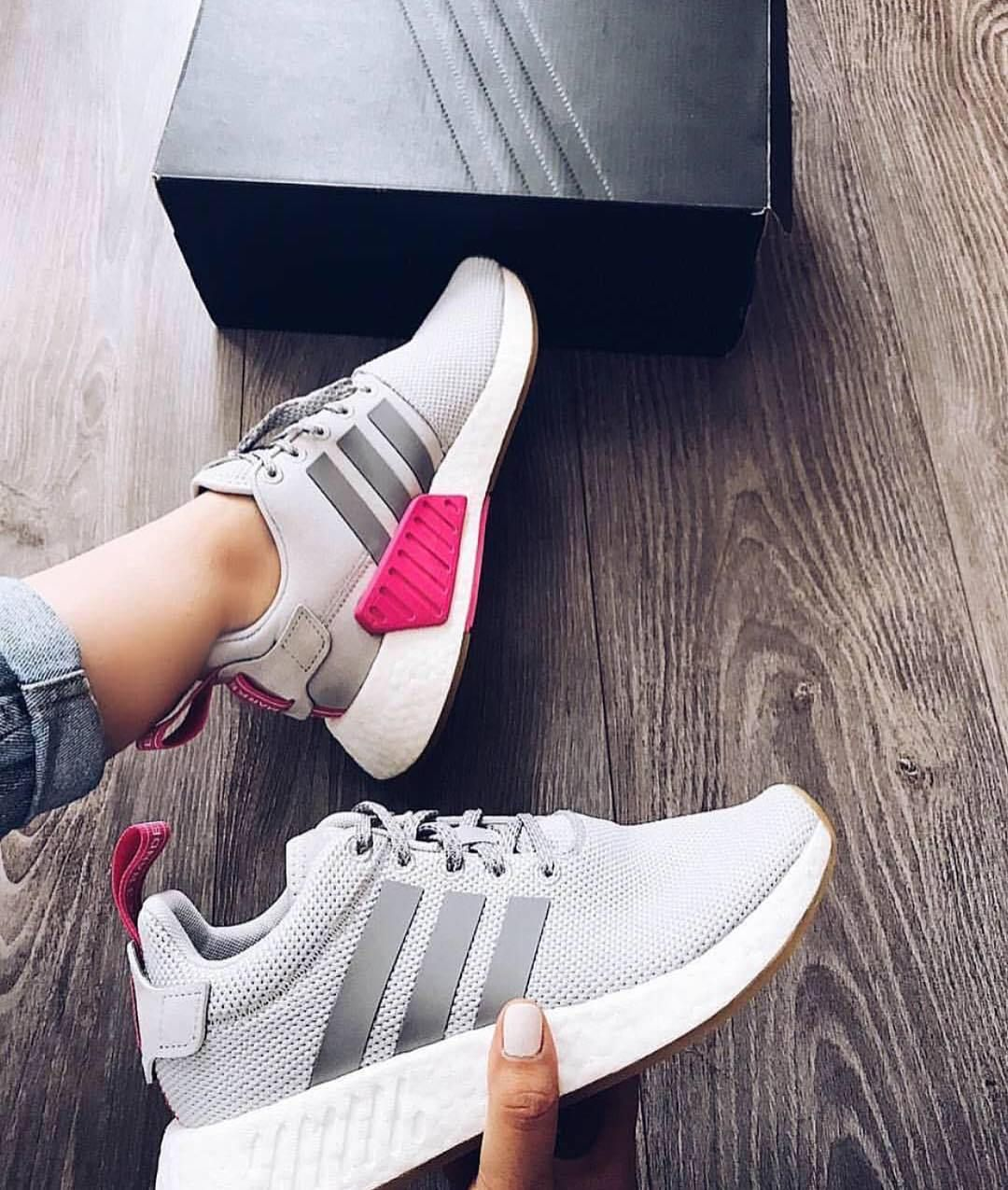 Grey adidas with hot pink accents