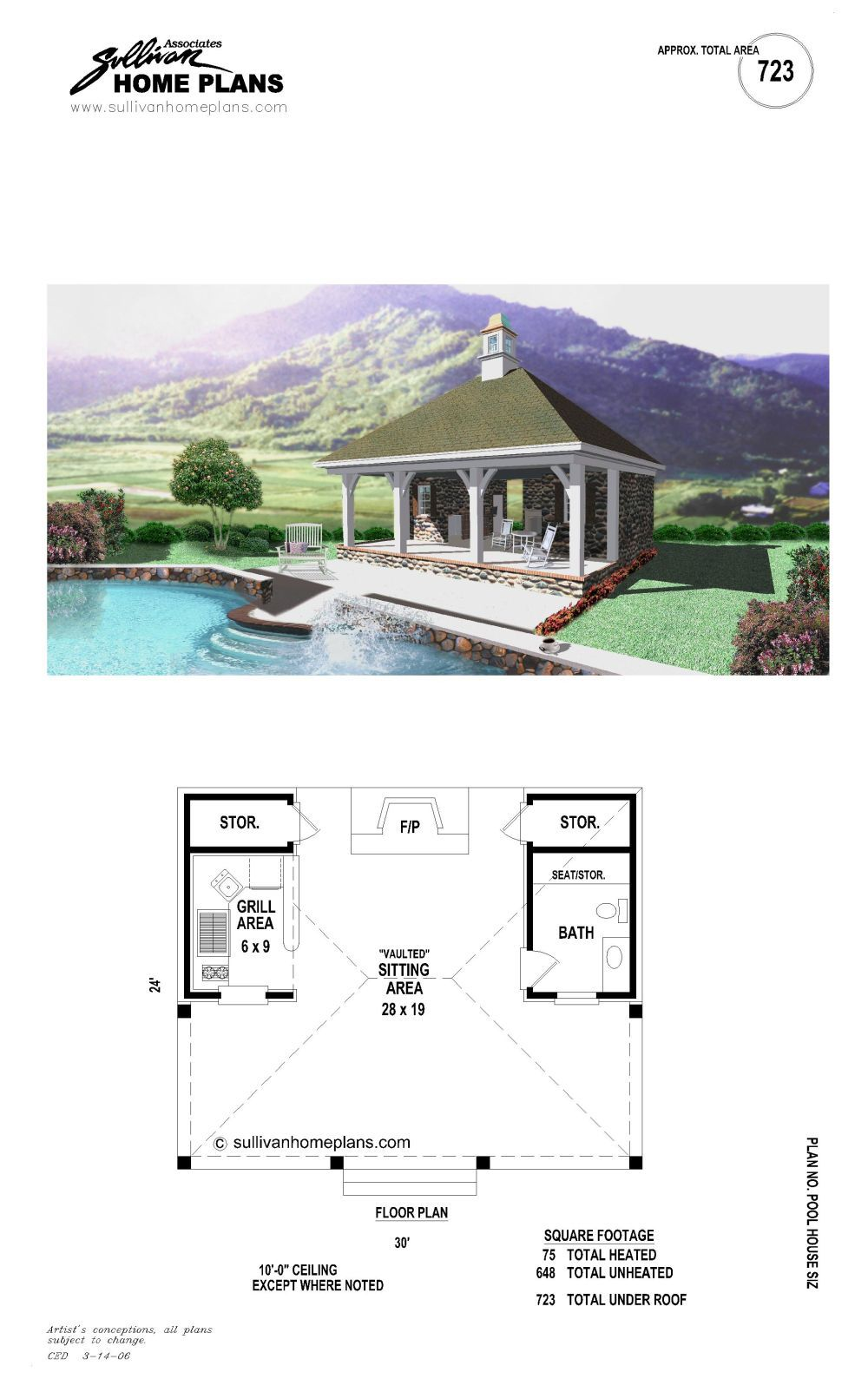 B1 0723 S P Pool House Plans Pool Houses Pool House