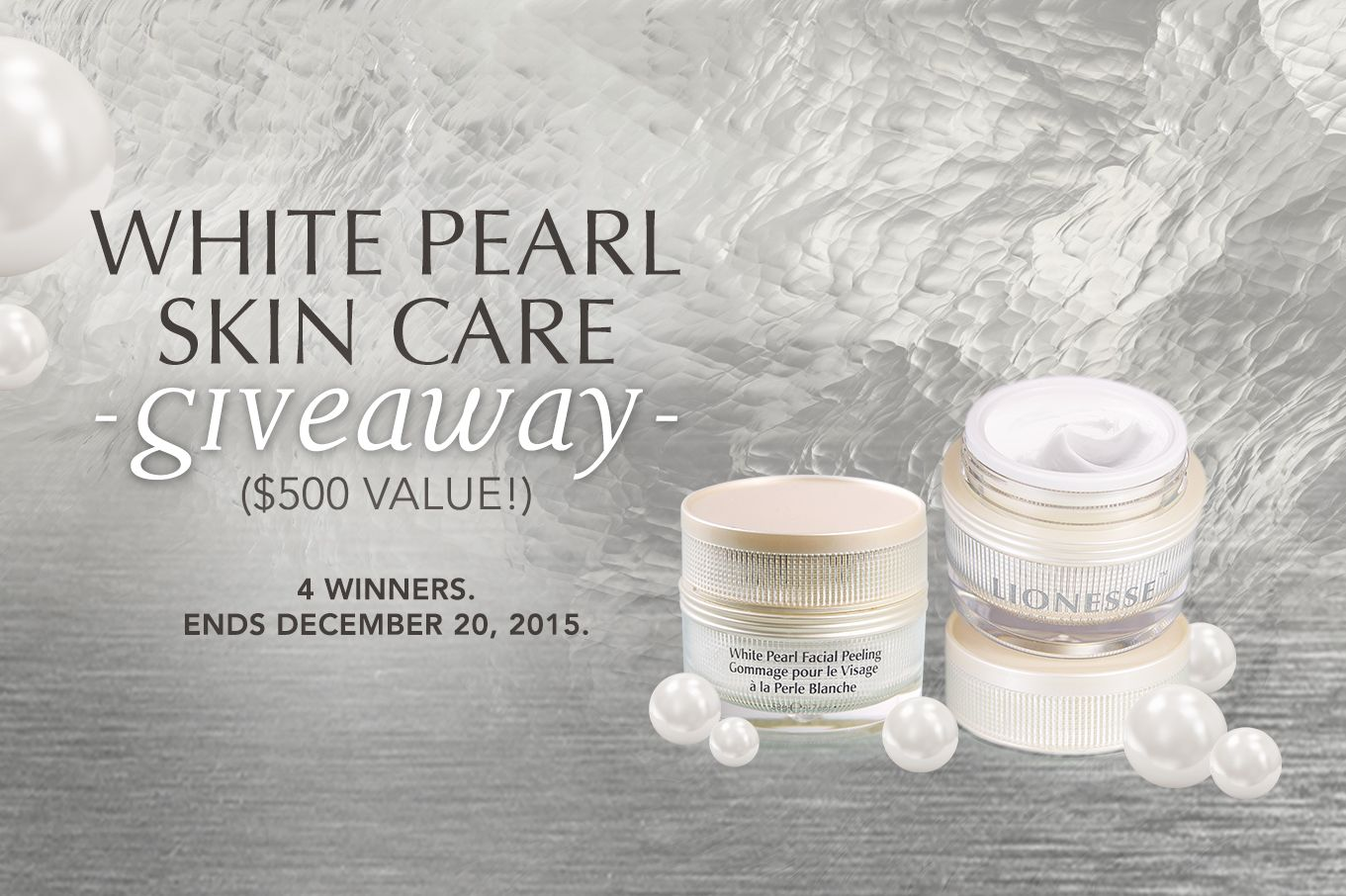 White Pearl Skin Care Giveaway 500 Total Value Lionesse Beauty Bar Giveaway Pearl White Beauty Bar Skin Care