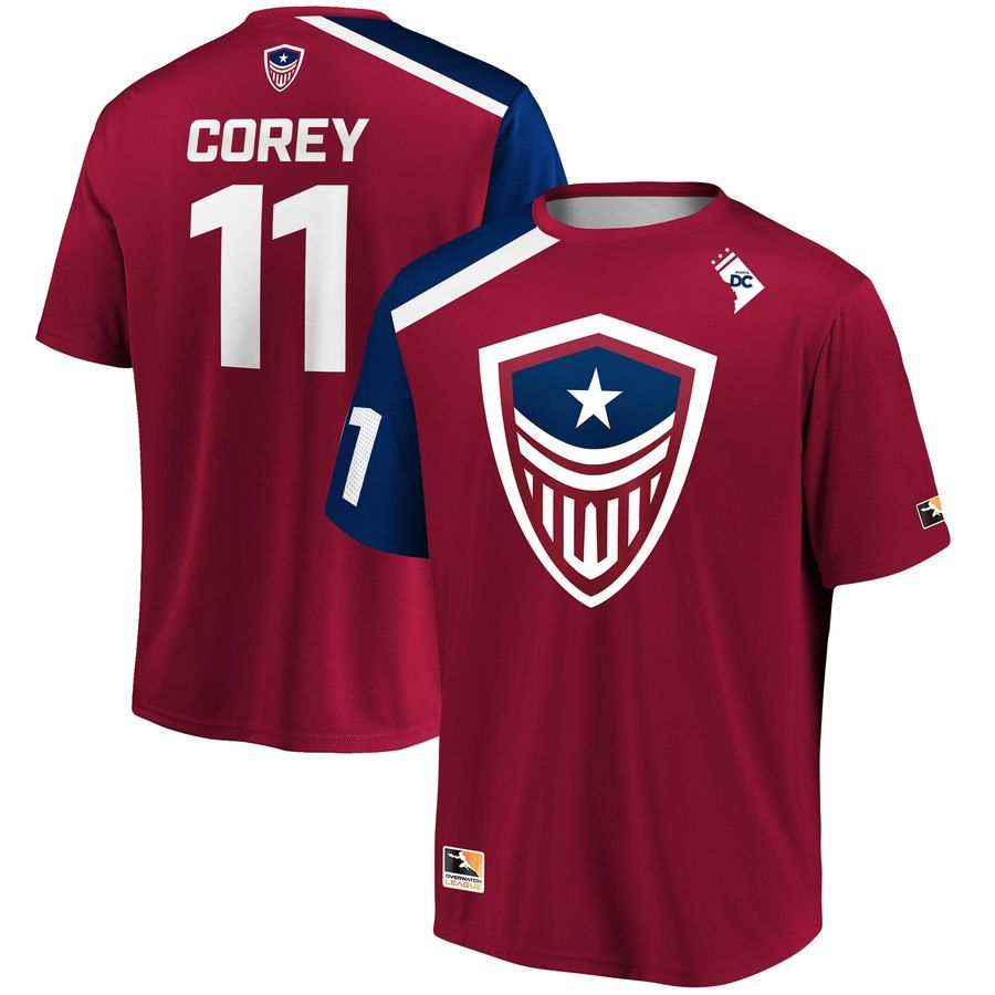 Corey Red Washington Justice Overwatch League Replica Home Jersey Team Jersey League Jersey Design