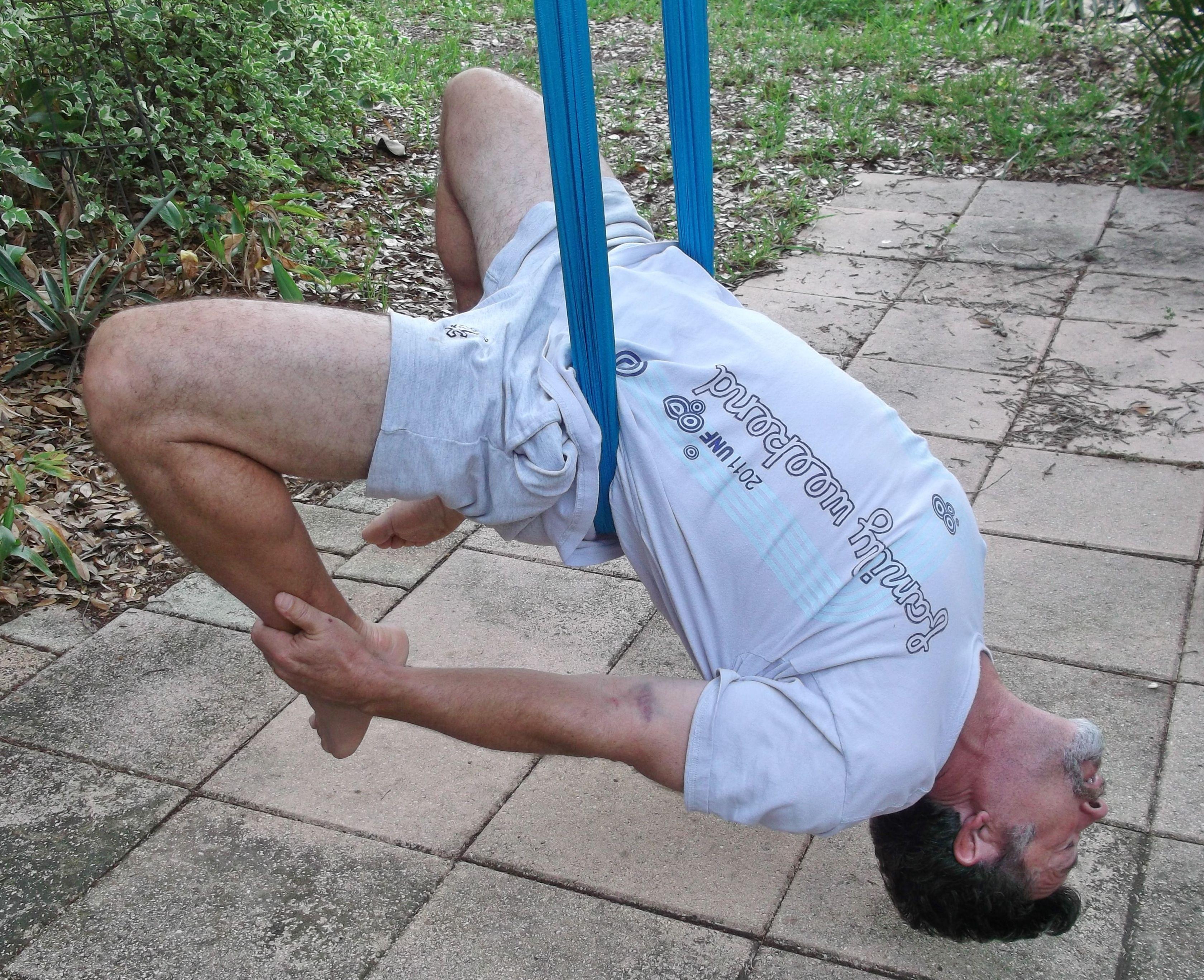 backyard aerial yoga reverse bow pose aerial yoga pinterest