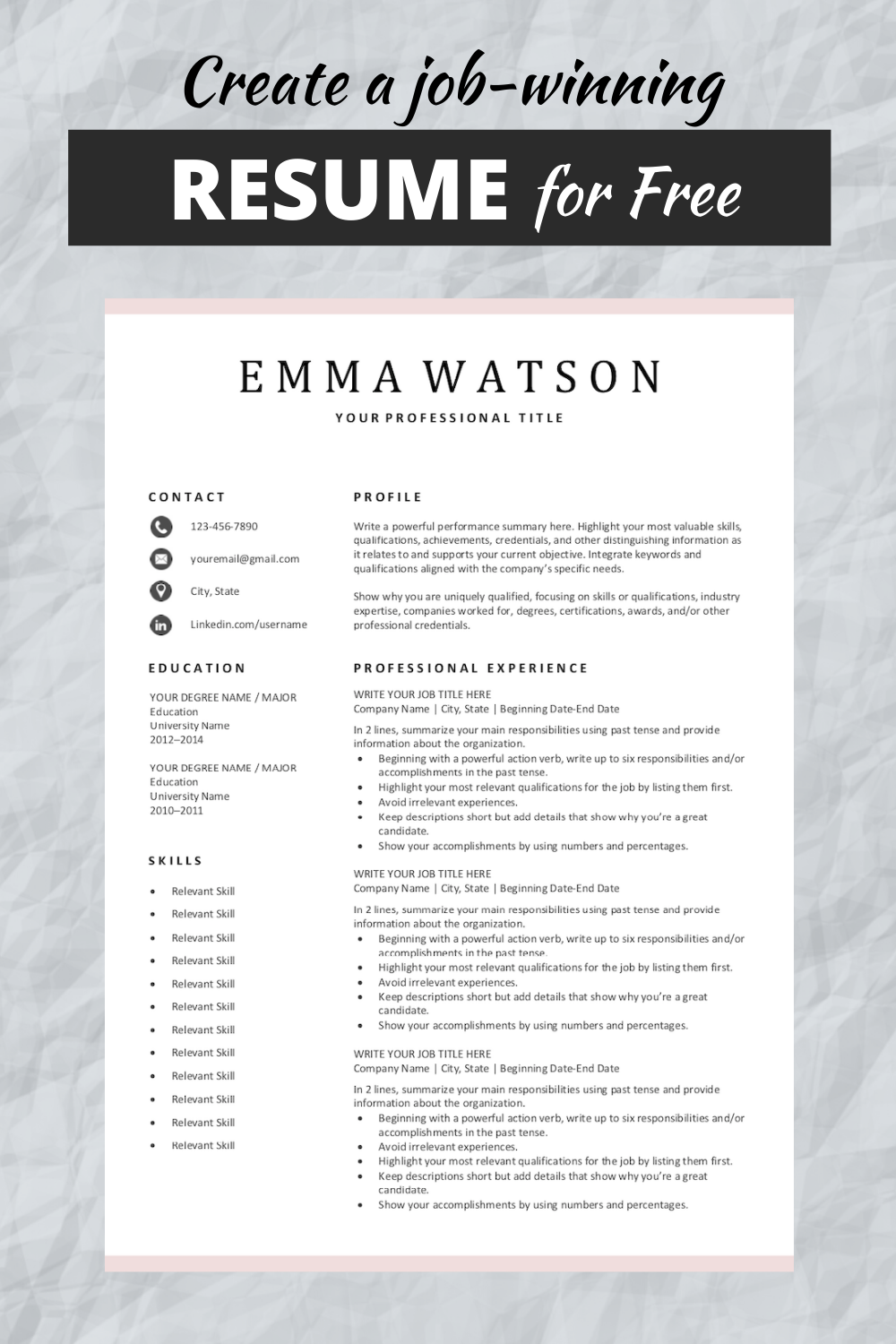 Perfect Resume Format Free Download