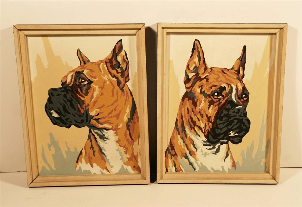 2 Vtg 50s Paint By Number Boxer Dog Pair Set Painting Wood Framed
