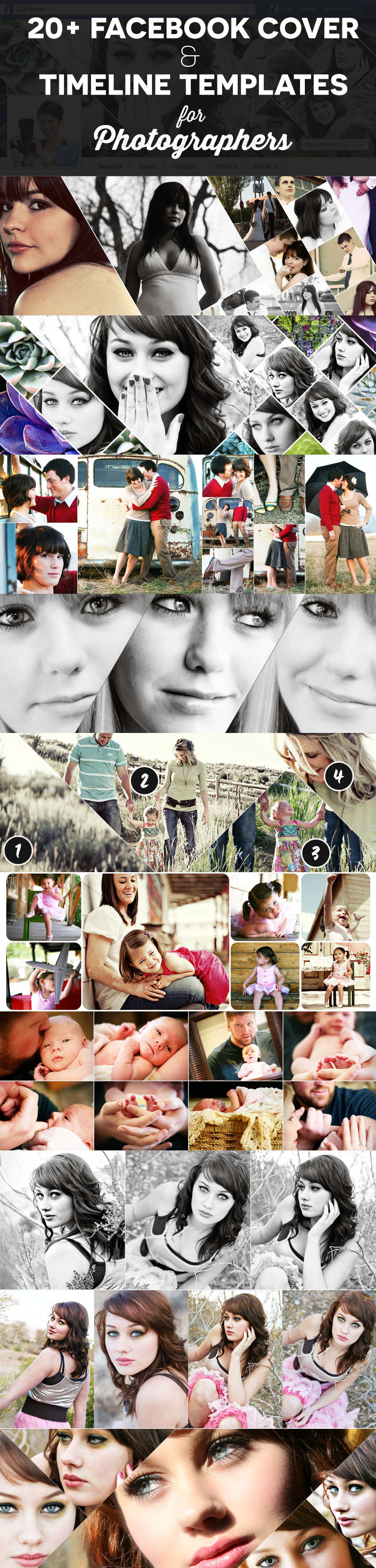 20 Facebook Cover Templates Timeline Photo Collage Templates For