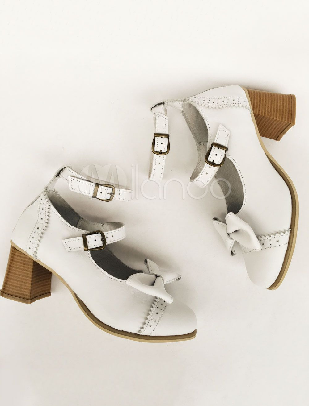 4285dc9e1c6 Lolita Chunky Heels White Double Strap Sweet Lolita Shoes With Bow  Heels