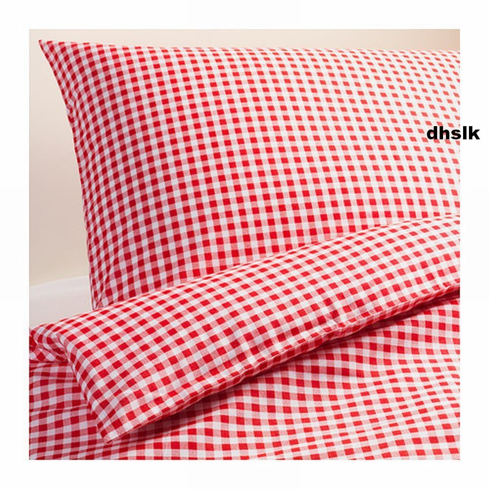 Ikea Margareta Full Queen Duvet Cover Pillowcases Set Red White Checked Gingham Xmas Biancheria Da Letto Letto Ikea Ikea