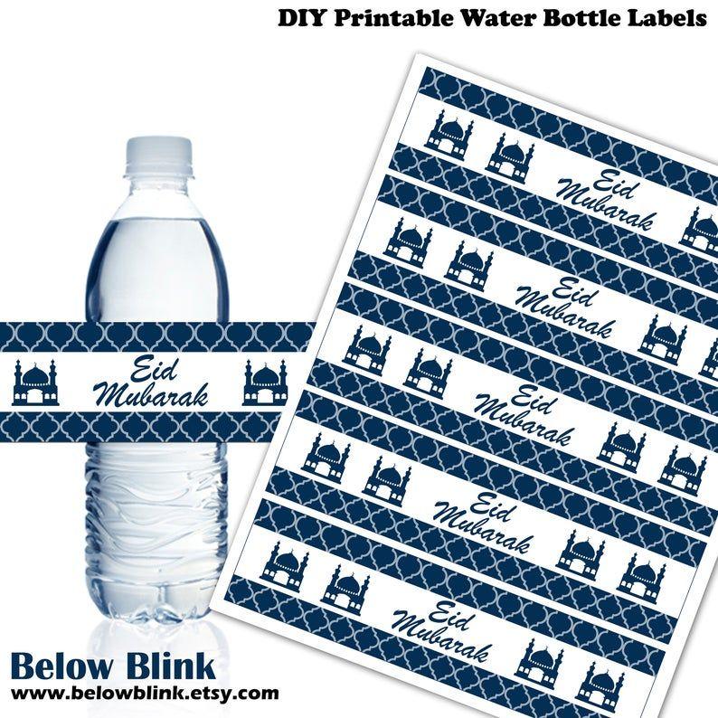 Eid mubarak water bottle labels printable eid labels eid