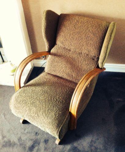Vintage Art Deco #banana Rocking #chair Seat 30u0027s Antique Retro #recliner  Bentwoo,