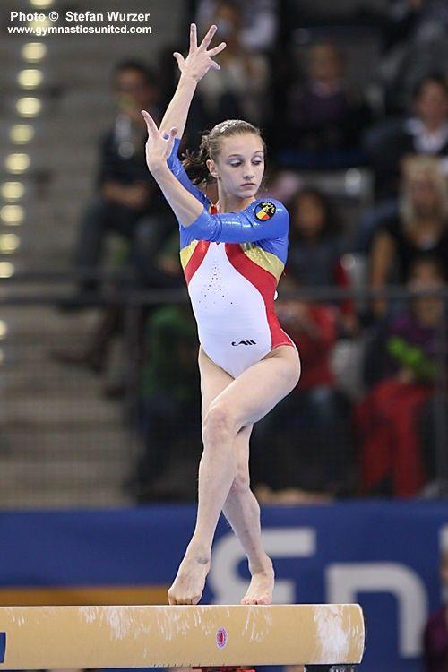 Romania's Ana Porgras performs in the balance beam event ...  |Ana Porgras