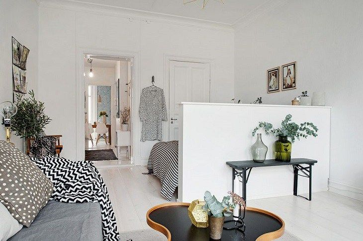 Lovely 10 Ways To Divide Space In Your Studio Apartment: #2. Plain Half