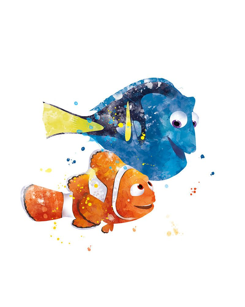 Nemo And Dory Print Watercolor Nursery Poster Finding Nemo Wall