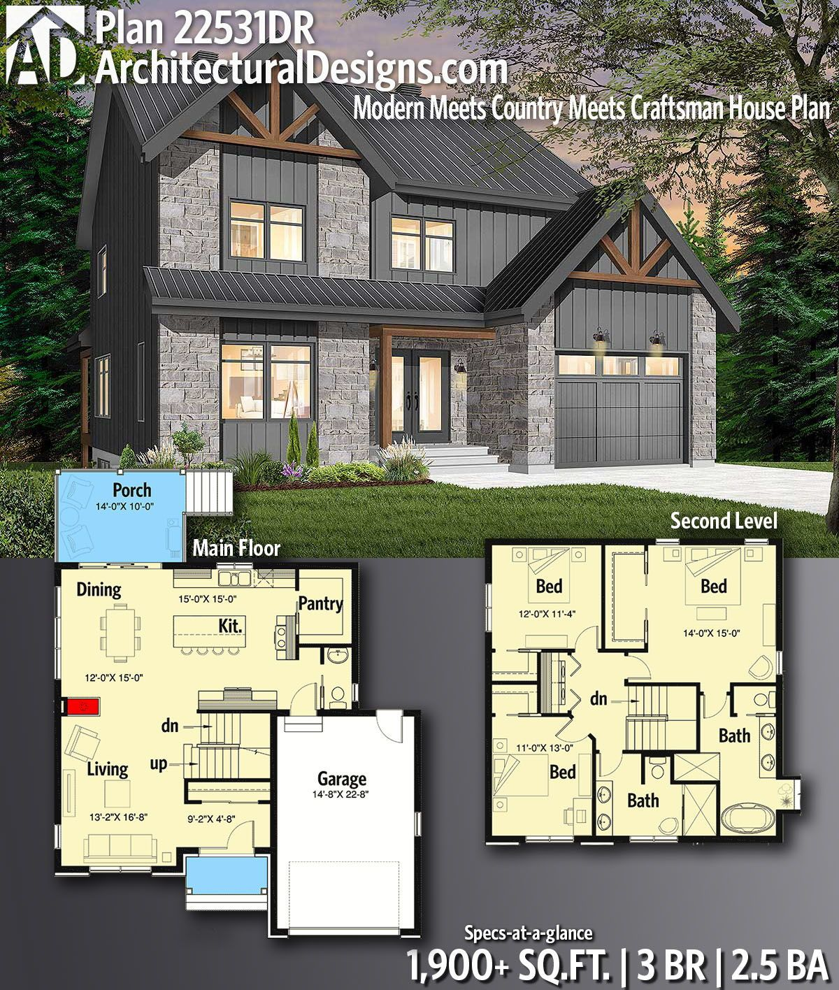 Plan 22531DR Modern Meets Country Meets Craftsman