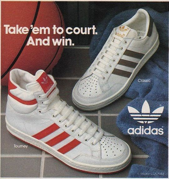 1984 Print ad for ADIDAS Tourney & Classic Basketball Shoes.