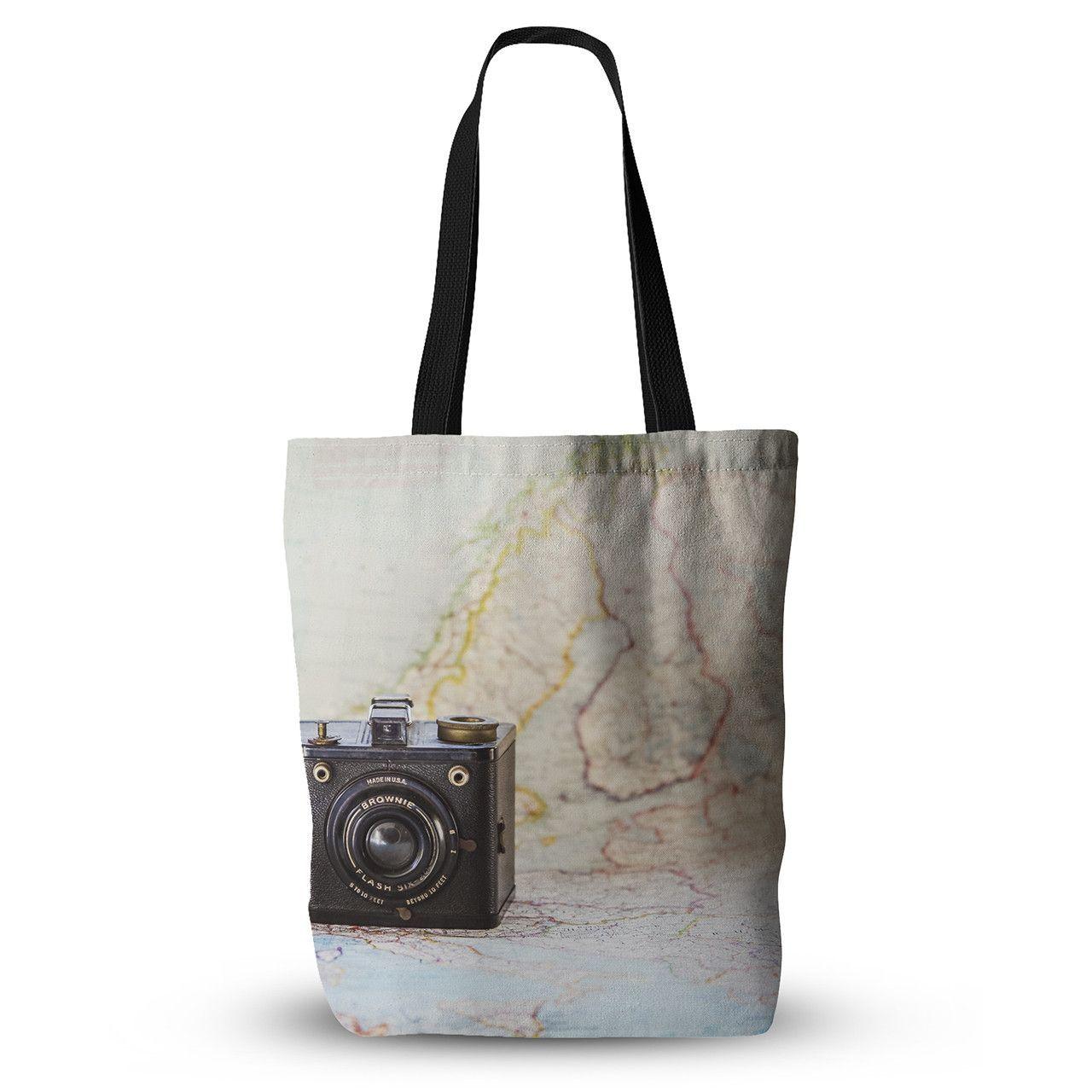 "Debbra Obertanec ""Travel Time"" Black Beige Everything Tote Bag"