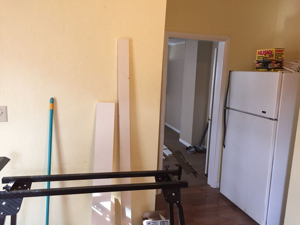 Kitchen Area leading into Living Room, where Refrigerator will be placed