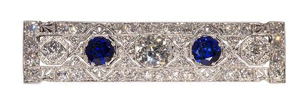 Art Deco synthetic sapphire, diamond and platinum