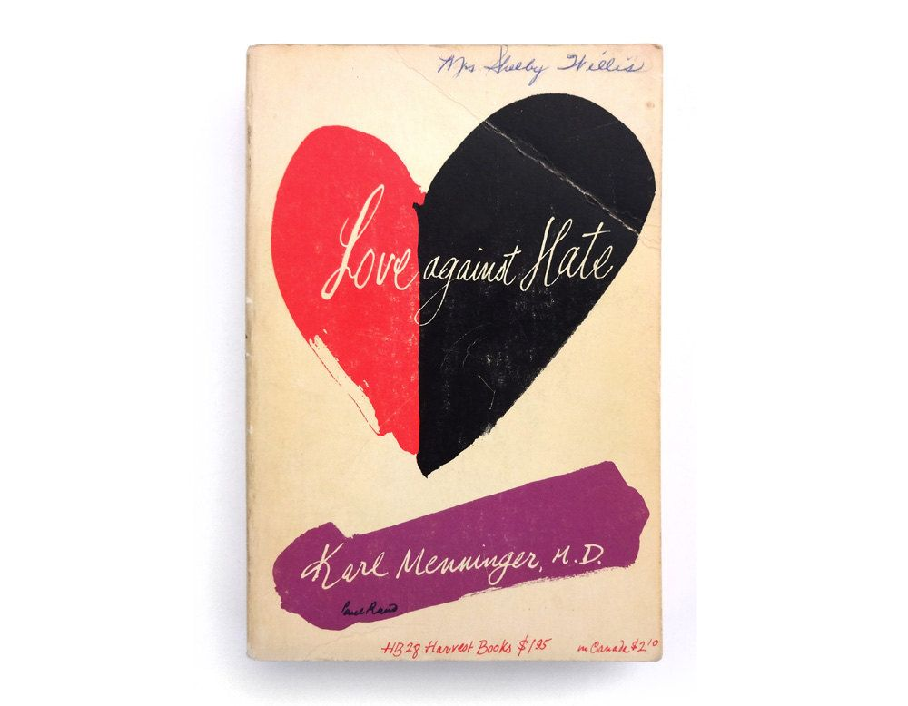 """Paul Rand paperback book cover design, 1959. """"Love Against Hate"""" by Karl Menninger, M.D. by NewDocuments on Etsy"""