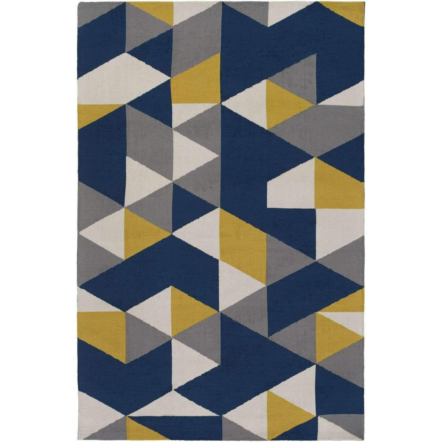 Joan Joan 6087 Navy Blue Yellow Gray Contemporary Rug Blue And