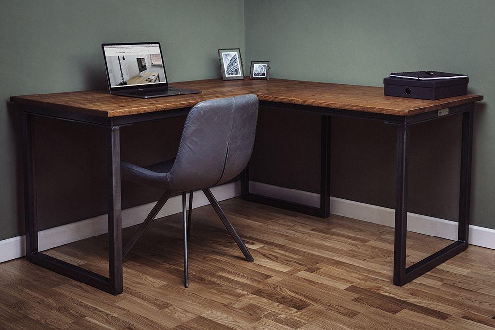 Vintage Industrial Office Desks Bespoke Uk Russell Oak Steel In 2020 Industrial Office Desk Home Office Design Cozy Home Office