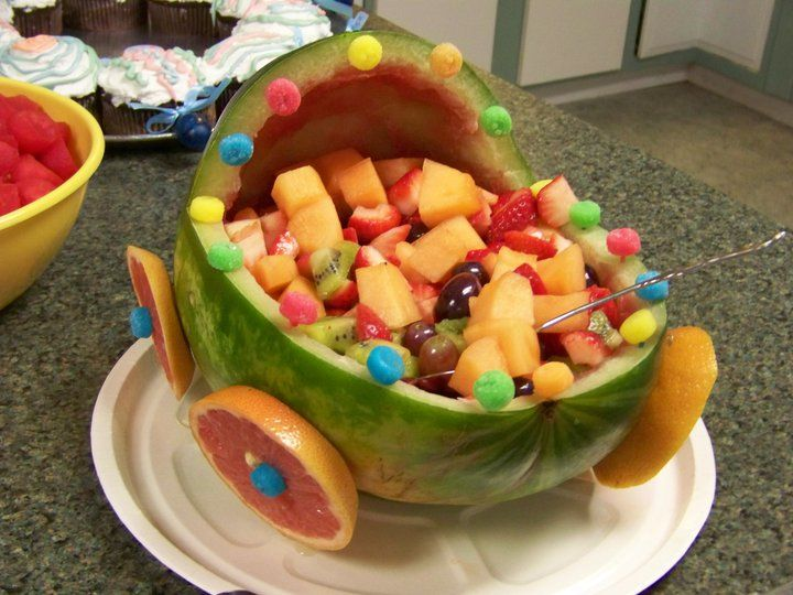 Baby Carriage Fruit Bowl | Anastasia\'s Baby Shower Ideas | Pinterest ...